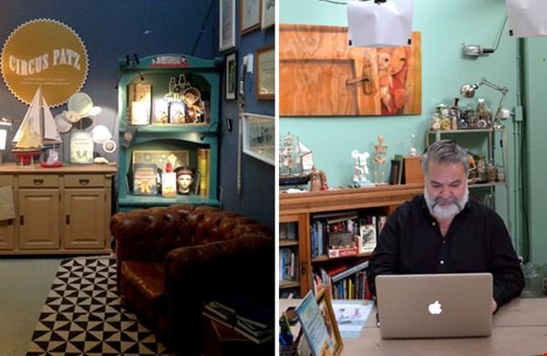 Patz aan het werk in zijn atelier