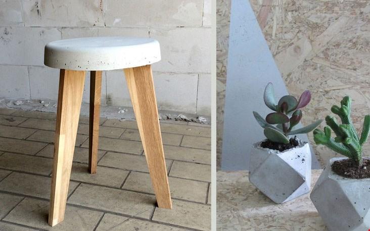Krukje en plantenpotje van beton