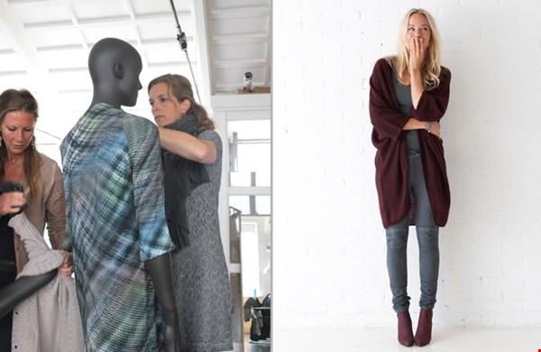 Denise en Richelle kleden de pasoppen in de showroom aan en... fijn vest uit de nieuwe collectie