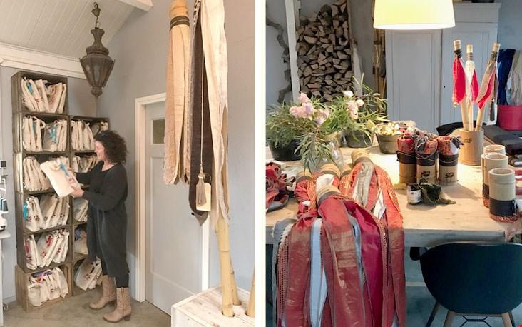 Angelique aan het werk in haar atelier