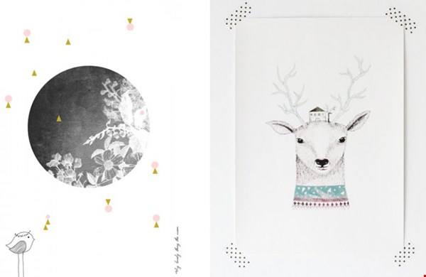 Links poster 'The Moon' en rechts 'Deer' van Printedstories.nl