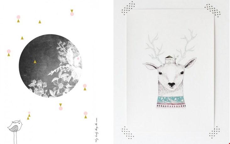 Links poster 'The Moon' en rechts 'Deer' van Printedstories.nl