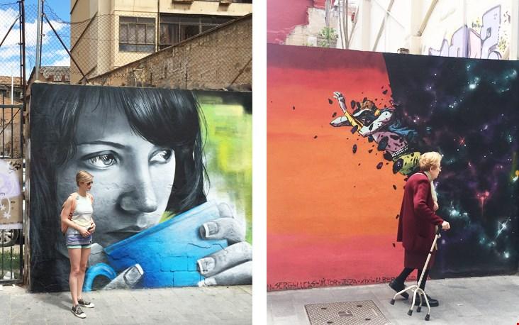 Kleurrijke illustraties op de straten van Valencia
