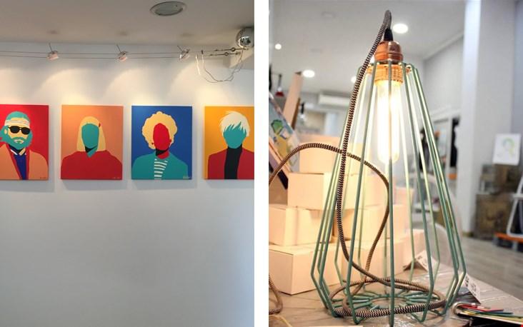 Creatievelingen die hun werk presenteren in shops en de draadlamp die straks in Nederland prijkt