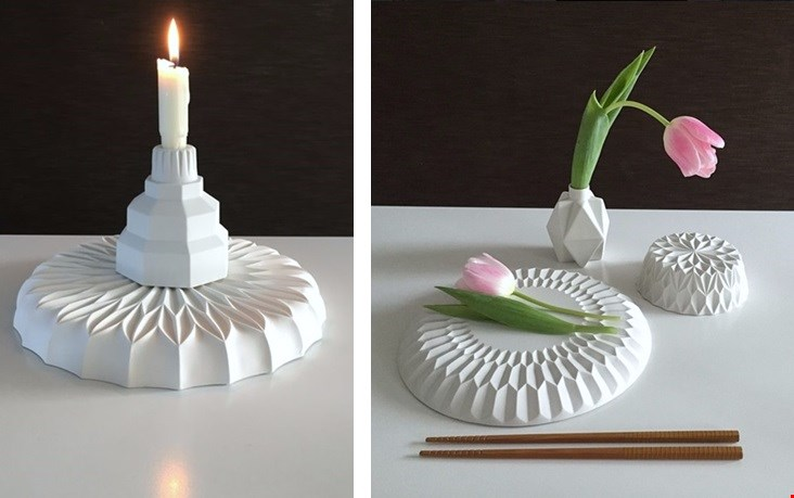 Bord en fruitschaal van ontwerpster Lenneke Wispelwey.