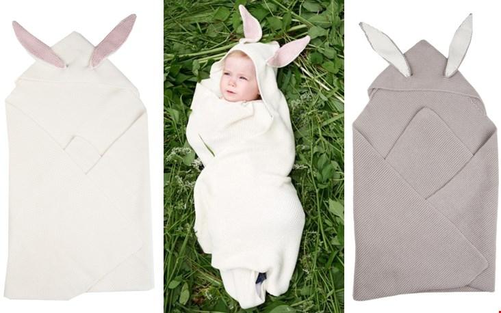 Bunny ears omslagdoek met capuchon en konijnenoren