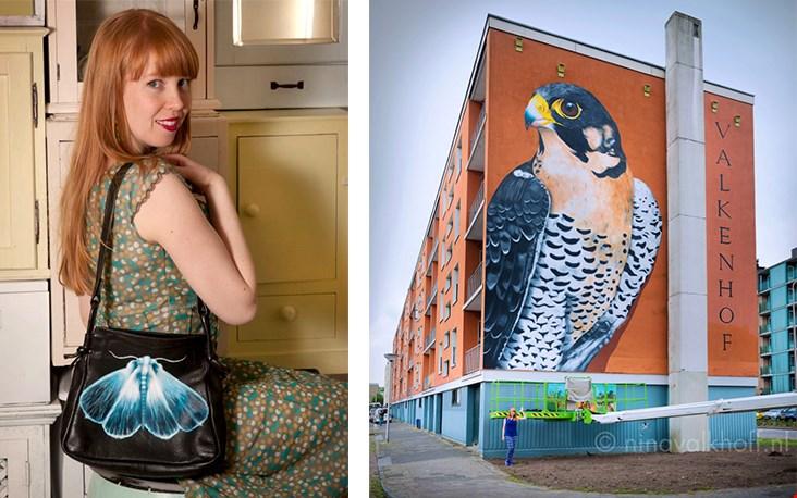 Links: Nina zelf met een van haar tassen Rechts: een van haar projecten