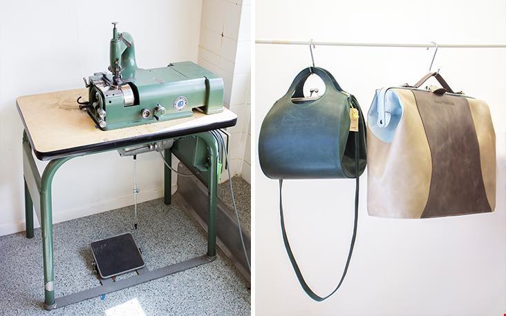 Een van de machines en rechts een van Anna's eerste ontwerpen met daarnaast Mrs. Banks