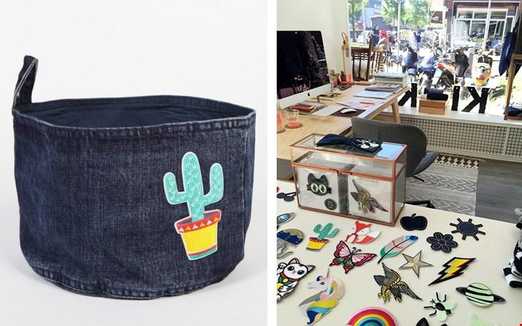 Links één van de jeansmandjes met patch ontworpen door Kiki, rechts haar fijne werkruimte met uitzicht!
