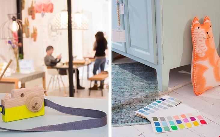 Handgemaakte camera en kleurstalen voor de meubels