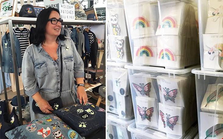 Kiki tijdens de Kleine Fabriek; rechts een kijkje in de voorraadkamer, de door haar ontworpen patches!